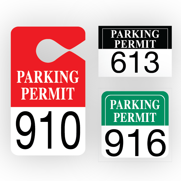 Permits pro tuff decals. Parking lot clipart parking permit