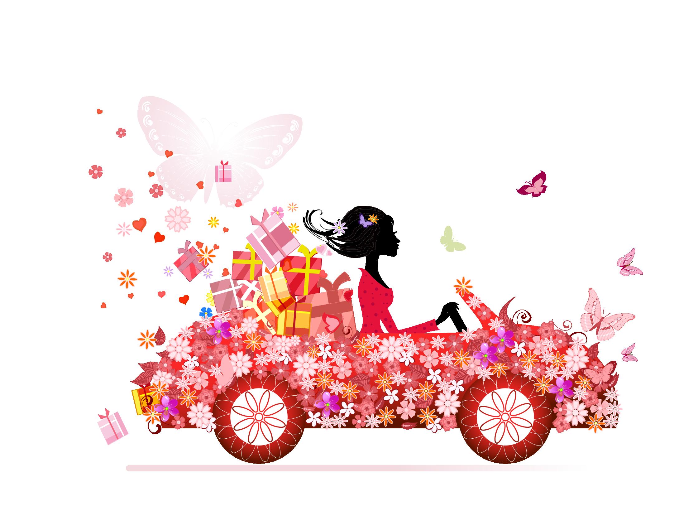 Flower girl clip art. Driving clipart pink car