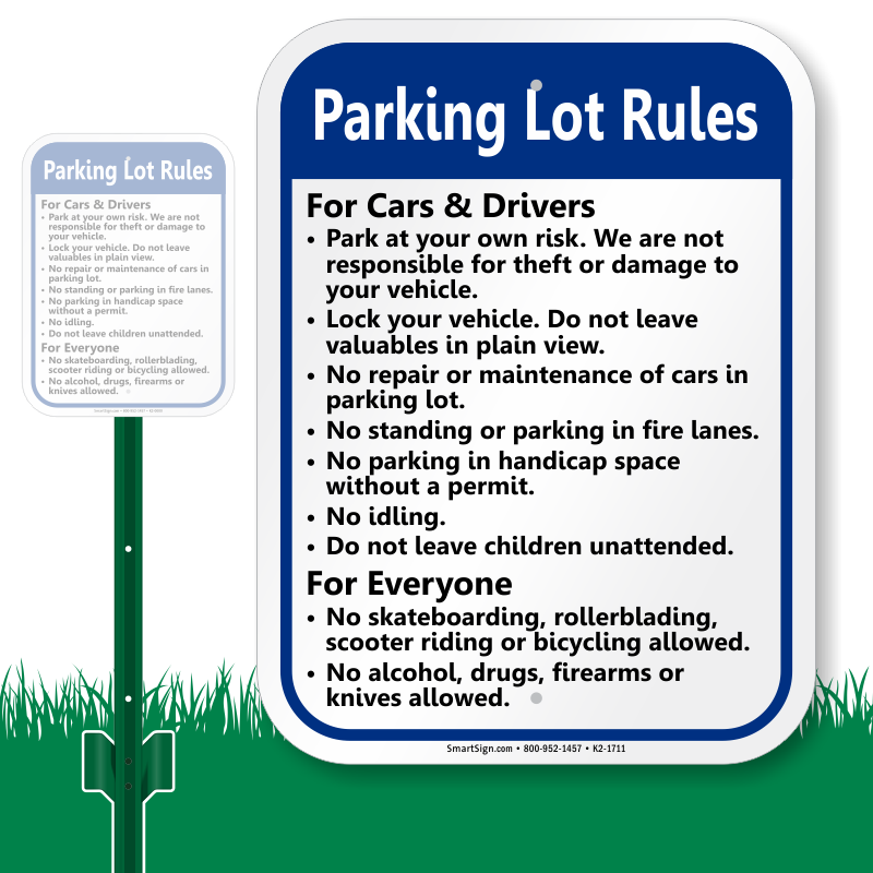 Parking lot clipart parking space. Rules signs courtesy zoom