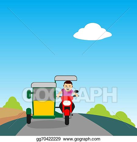 Driving clipart tricycle driver. Eps illustration young man