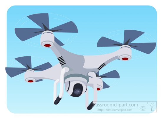 Aircraft quadcopter camera in. Drone clipart