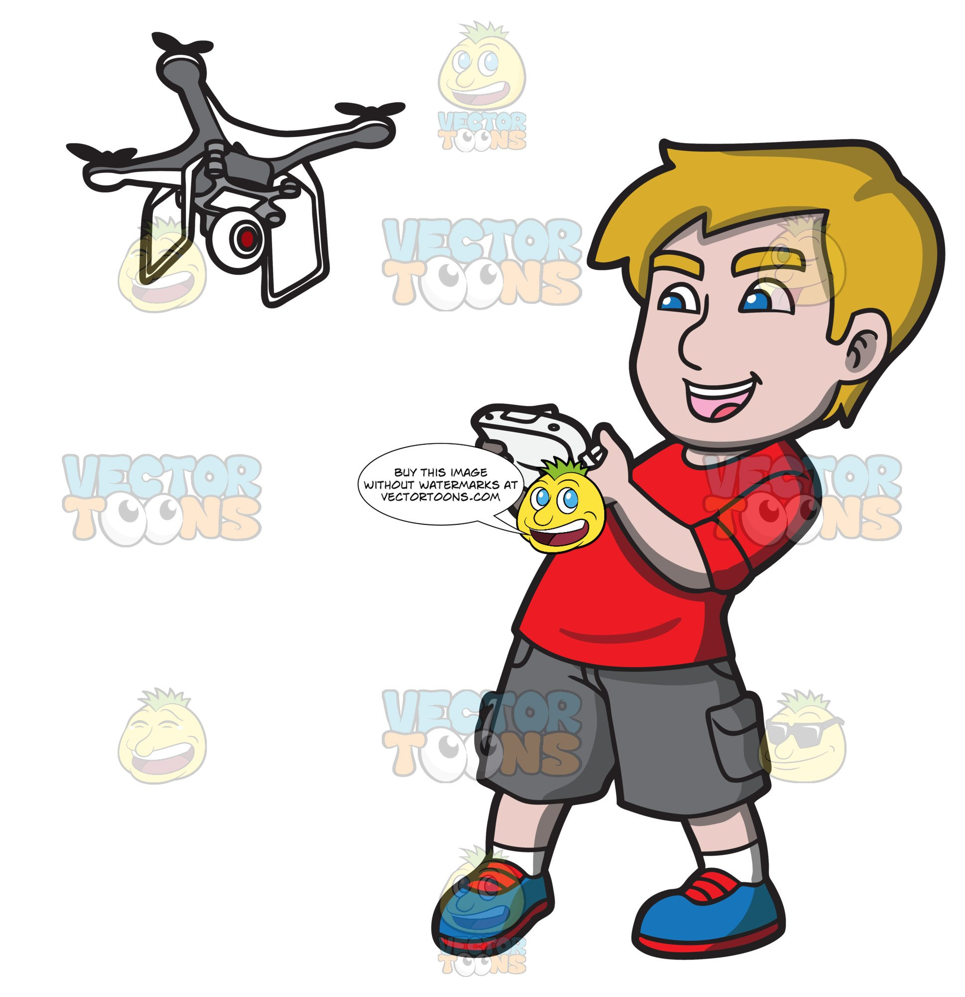 Drone clipart cartoon. An excited young man
