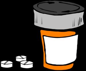Red and orange bottle. Drug clipart