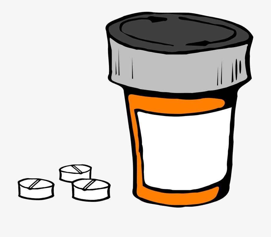 Pill bottle medicine prescription. Drug clipart animated