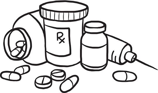 Pills clipart prescription drug. Drugs black and white