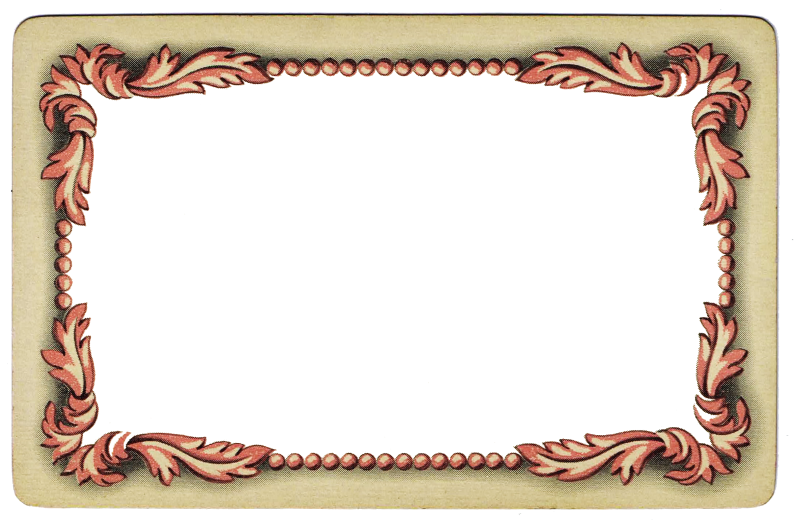 Antique playing card frame. Pink clipart cabinet