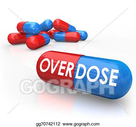 Stock illustration word pills. Drug clipart overdose