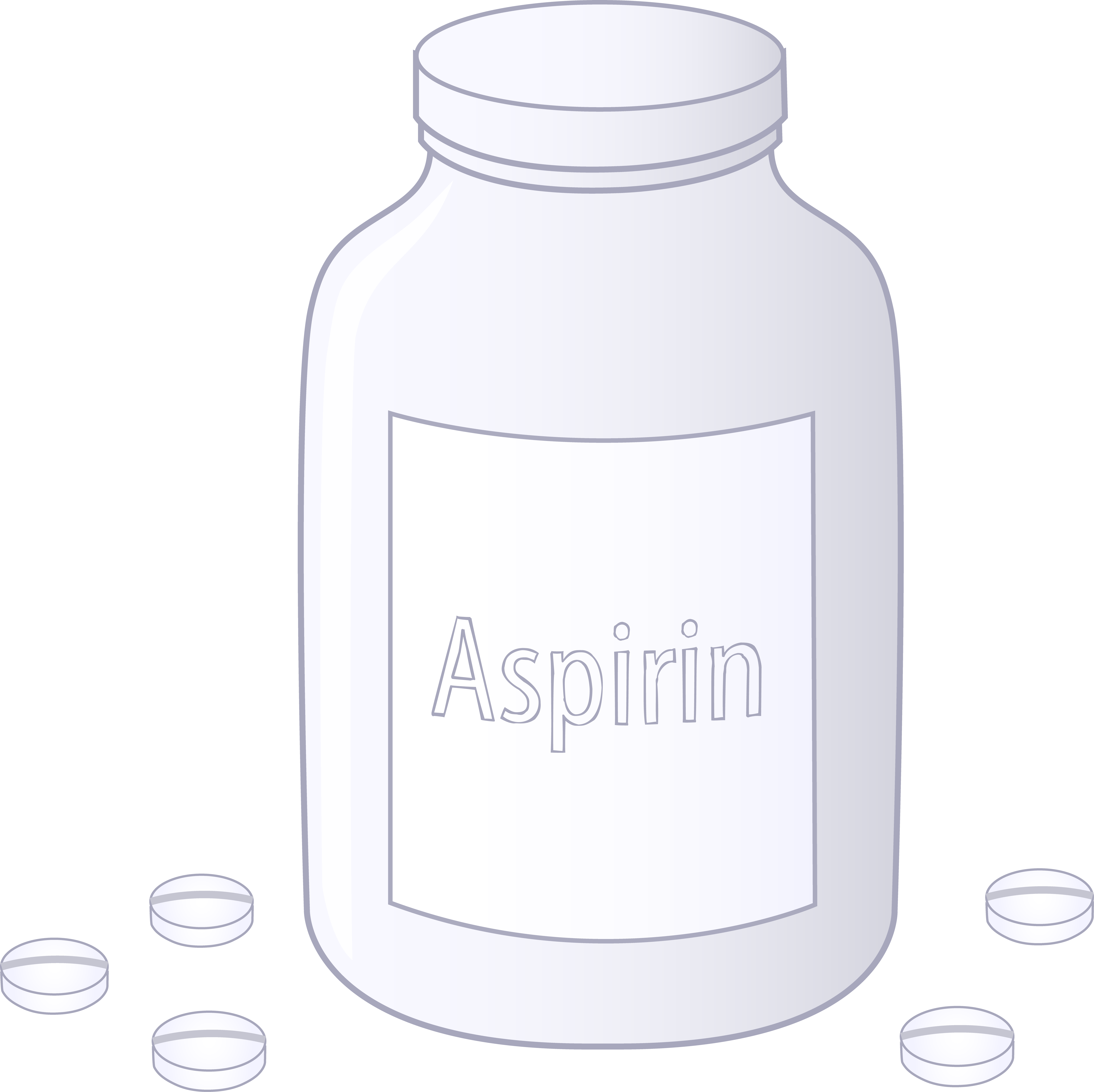 Bottle of aspirin tablets. Medication clipart medicine container