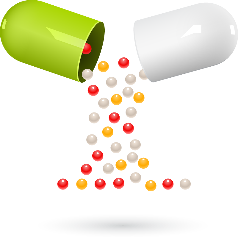 Information using interactive technology. Pill clipart over counter drug