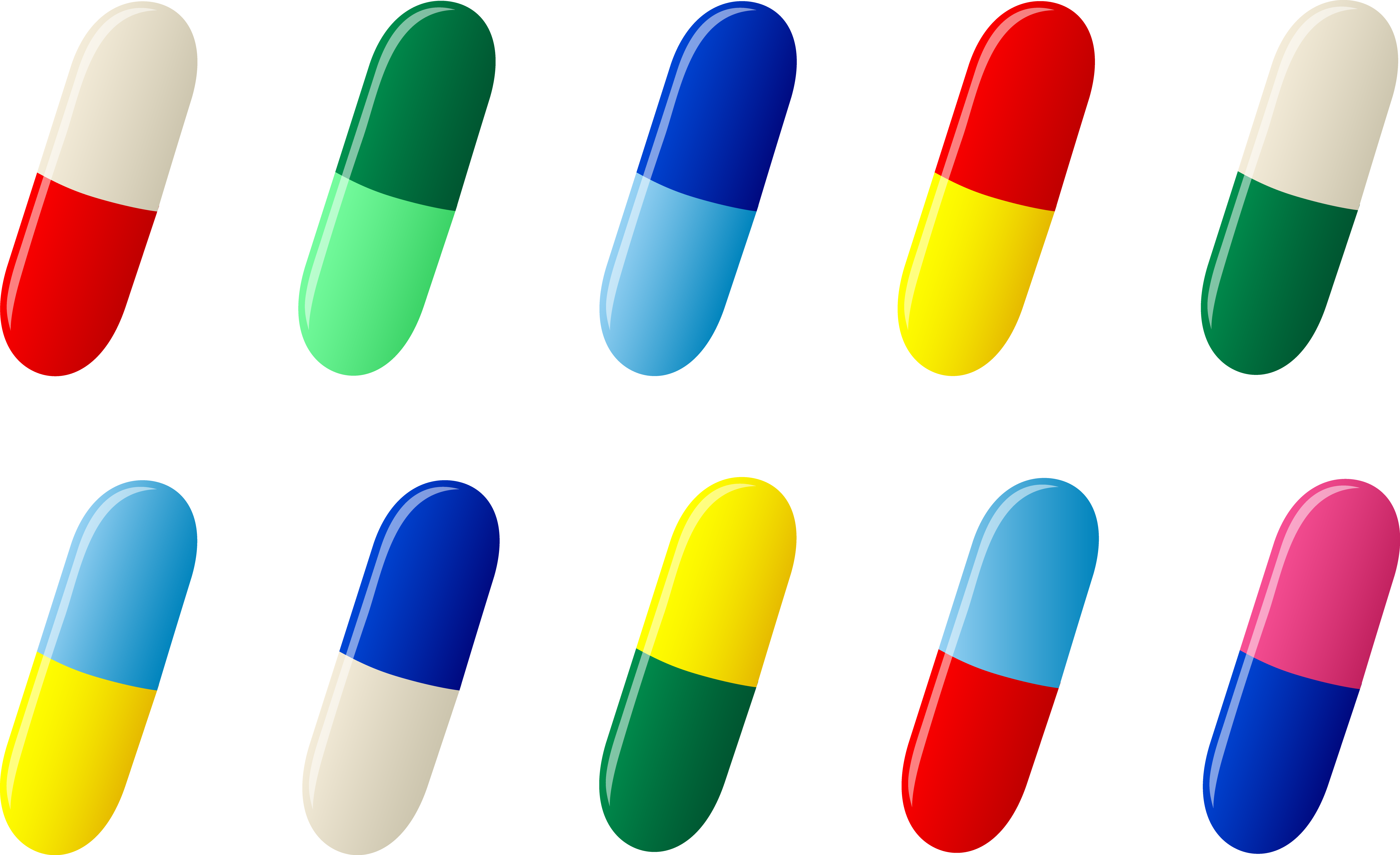 Ten capsule pill pharmaceutical. Medication clipart med