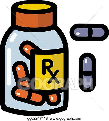 Drawings illustration of drugs. Drug clipart prescription drug