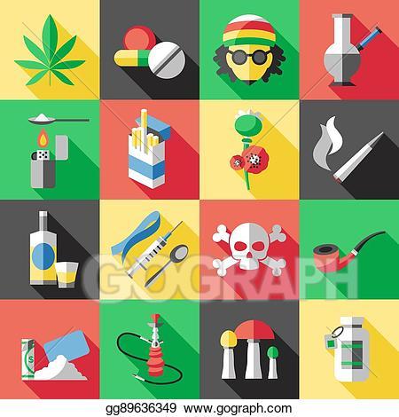 Drug clipart smoking. Vector art flat drugs