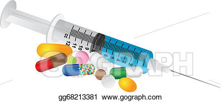 Syringe clipart prescription medicine. Vector with medication drugs