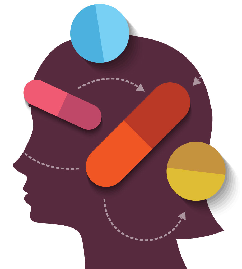 Two types of drugs. Memory clipart dementia care