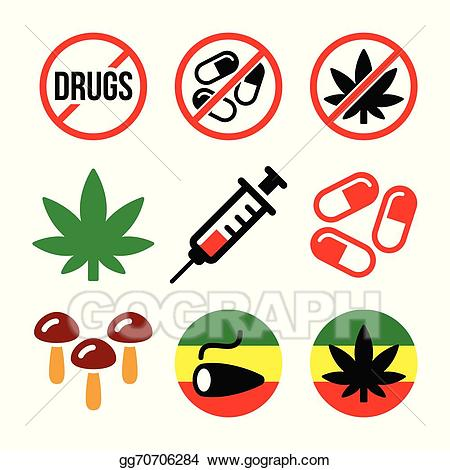 Drugs clipart illustration. Eps vector addiction marijuana