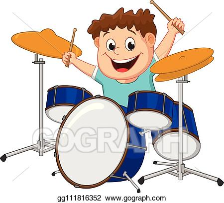 Drums clipart comic. Vector little boy playing