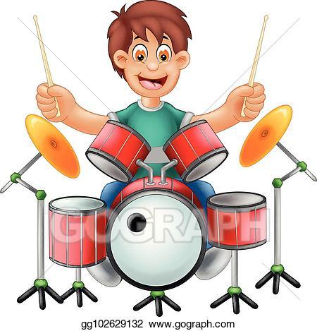 Drum clipart cute. Vector drummer cartoon sitting