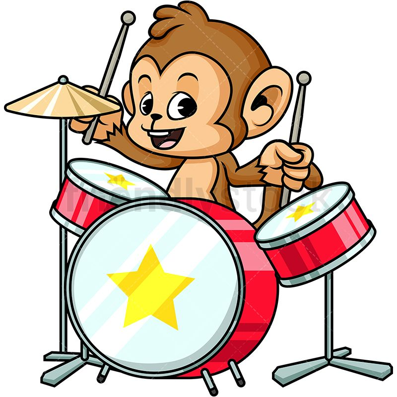 Monkey playing drums goc. Drum clipart cute