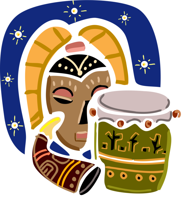African and tribal mask. Drum clipart djembe