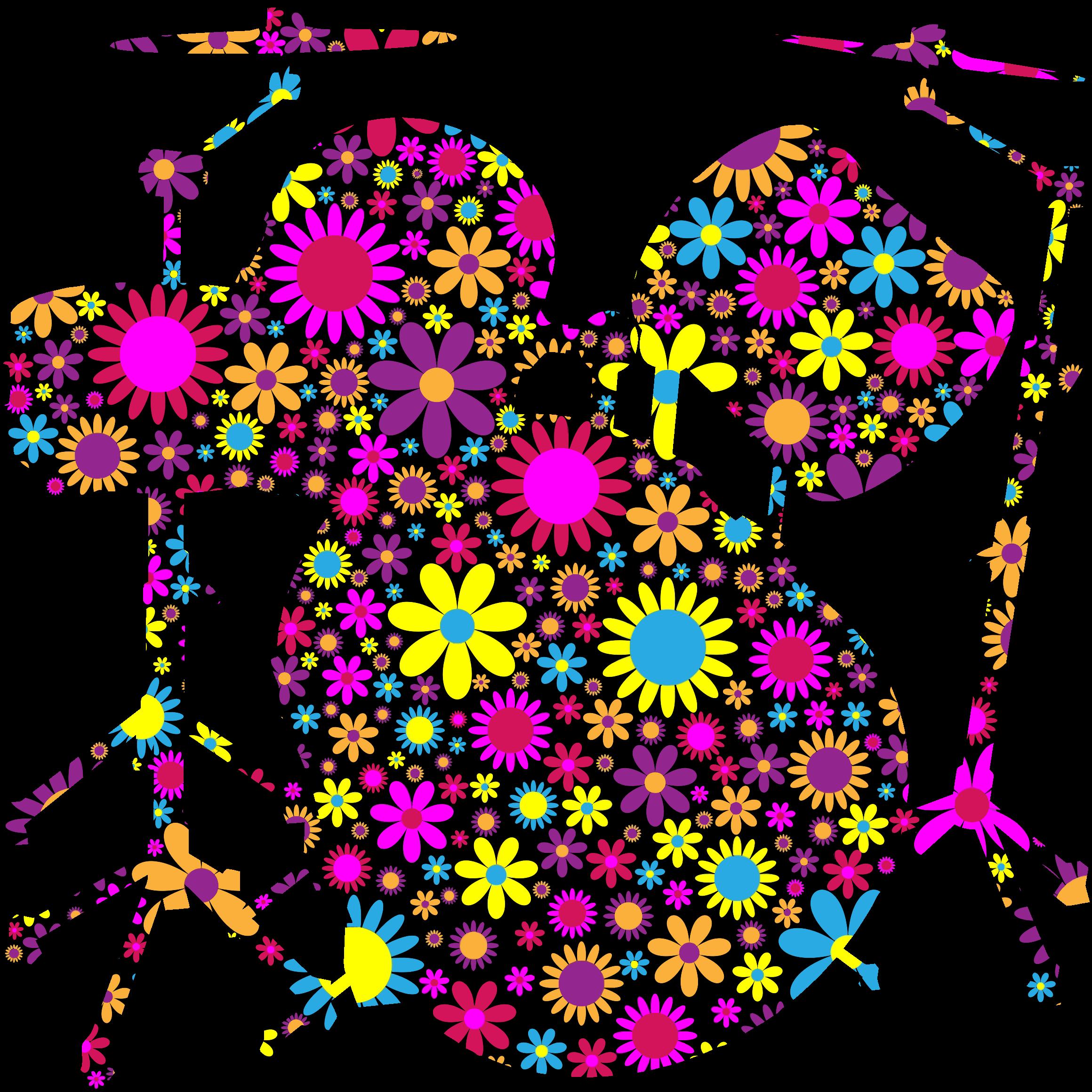 Floral big image png. Silhouette clipart drum set