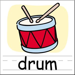 Clip art basic words. Drums clipart color