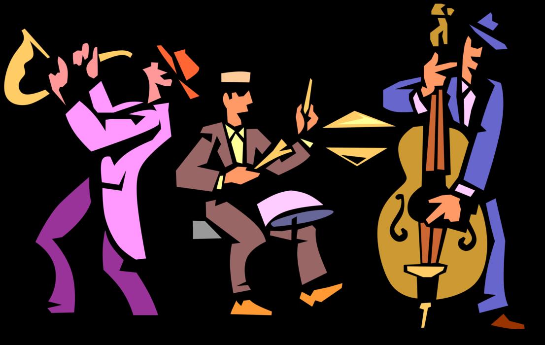 Trio play saxophone and. Drum clipart jazz drum