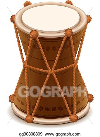 Drums clipart mridangam. Vector stock indian double