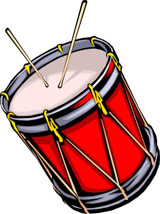 Military marching vector image. Drum clipart rhythm instrument