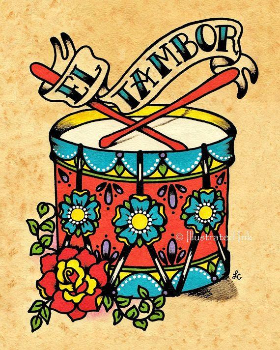 Old school tattoo art. Drum clipart tambor