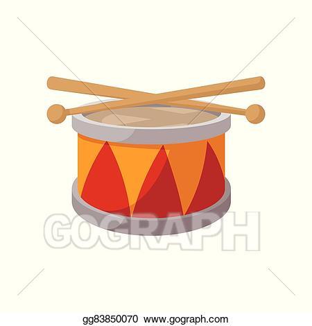 Vector art cartoon icon. Drum clipart toy drum