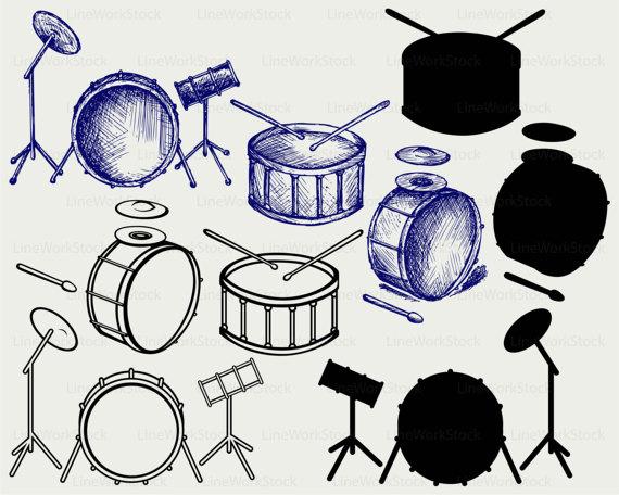 Drums clipart. Svg silhouette cricut cut