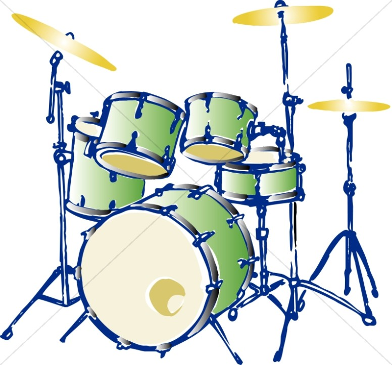 Green complete drum set. Drums clipart