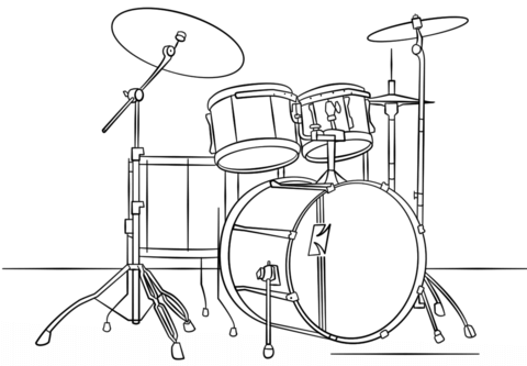 Drum kit coloring page. Drums clipart colouring