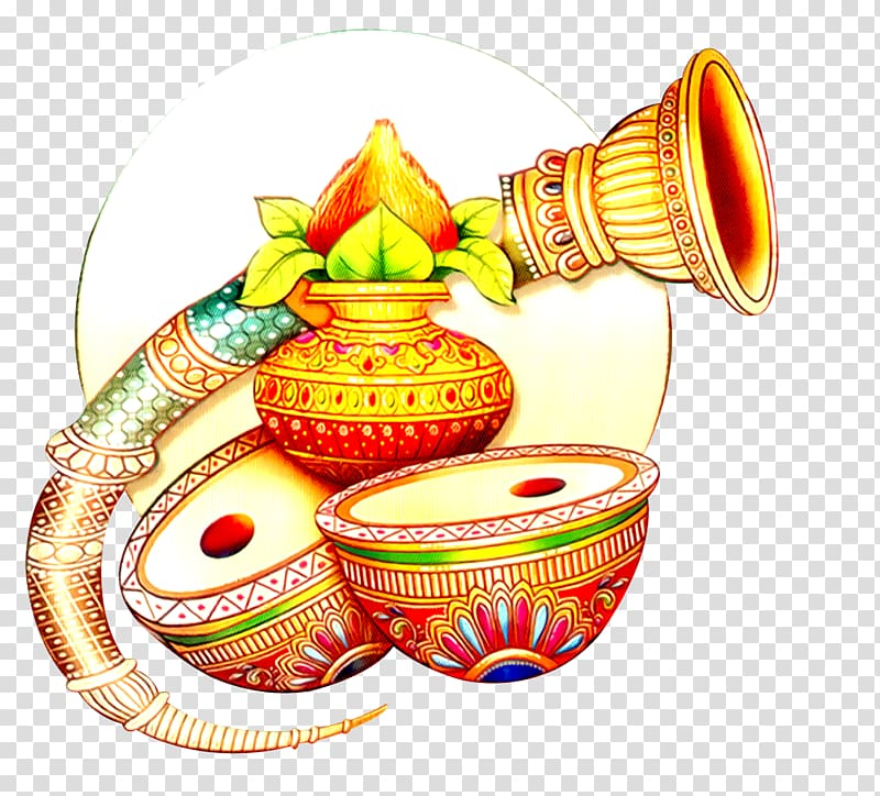 Gold and multicolored vases. Marriage clipart drum