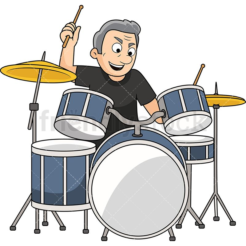 Old man playing cartoon. Drums clipart noisy