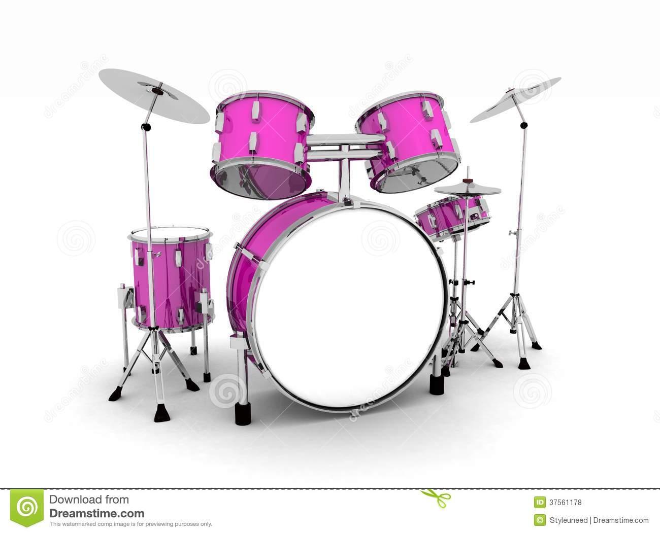 Drum set . Drums clipart pink