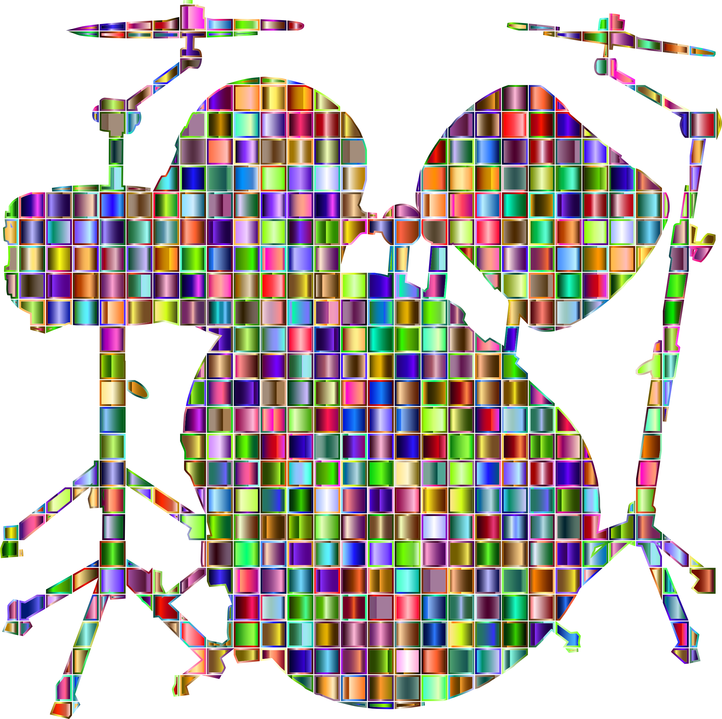 Drums clipart silhouette. Chromatic mosaic set big