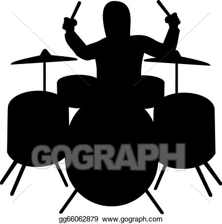 Vector of drummer illustration. Drums clipart silhouette