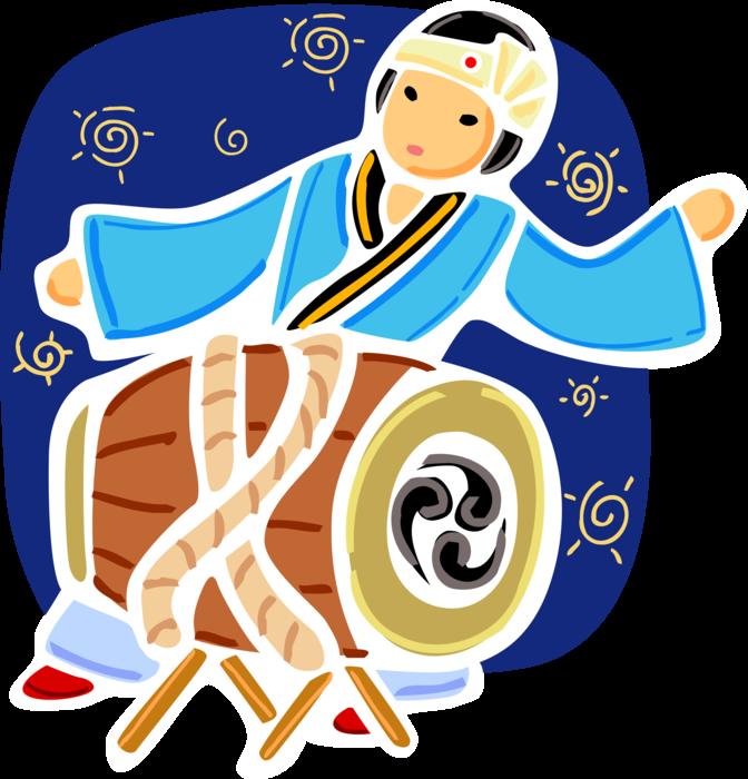 Korean drummer in dress. Drums clipart traditional drum