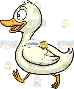 Ducks clipart happy. A running duck
