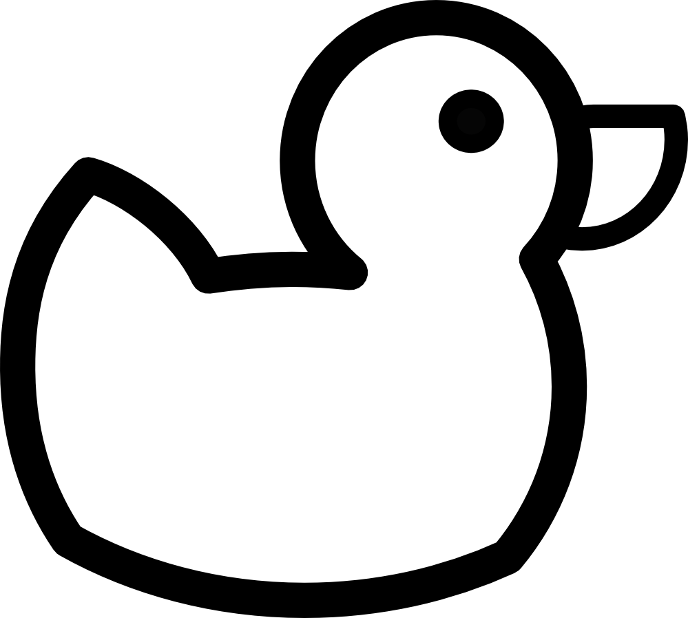 Duck black and white. Duckling clipart line