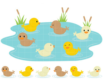 Etsy ducklings swimming in. Duckling clipart