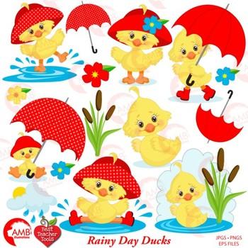 Ducklings in the rain. Duckling clipart baby duck