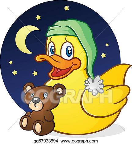 Eps illustration rubber duck. Duckling clipart brown bear