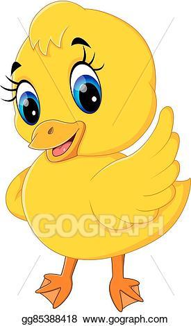 Vector art baby duck. Duckling clipart cute