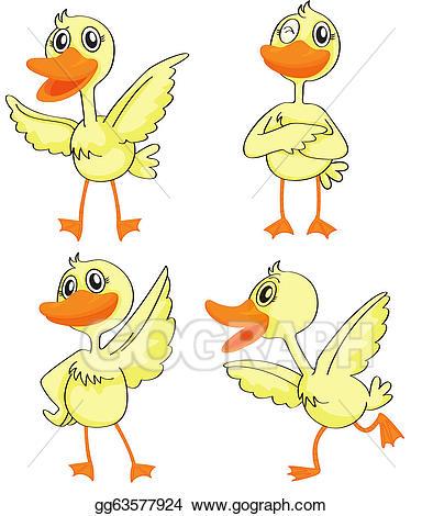 Ducks clipart four. Vector illustration ducklings eps