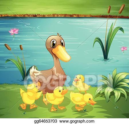 Vector art a mother. Duckling clipart group duck