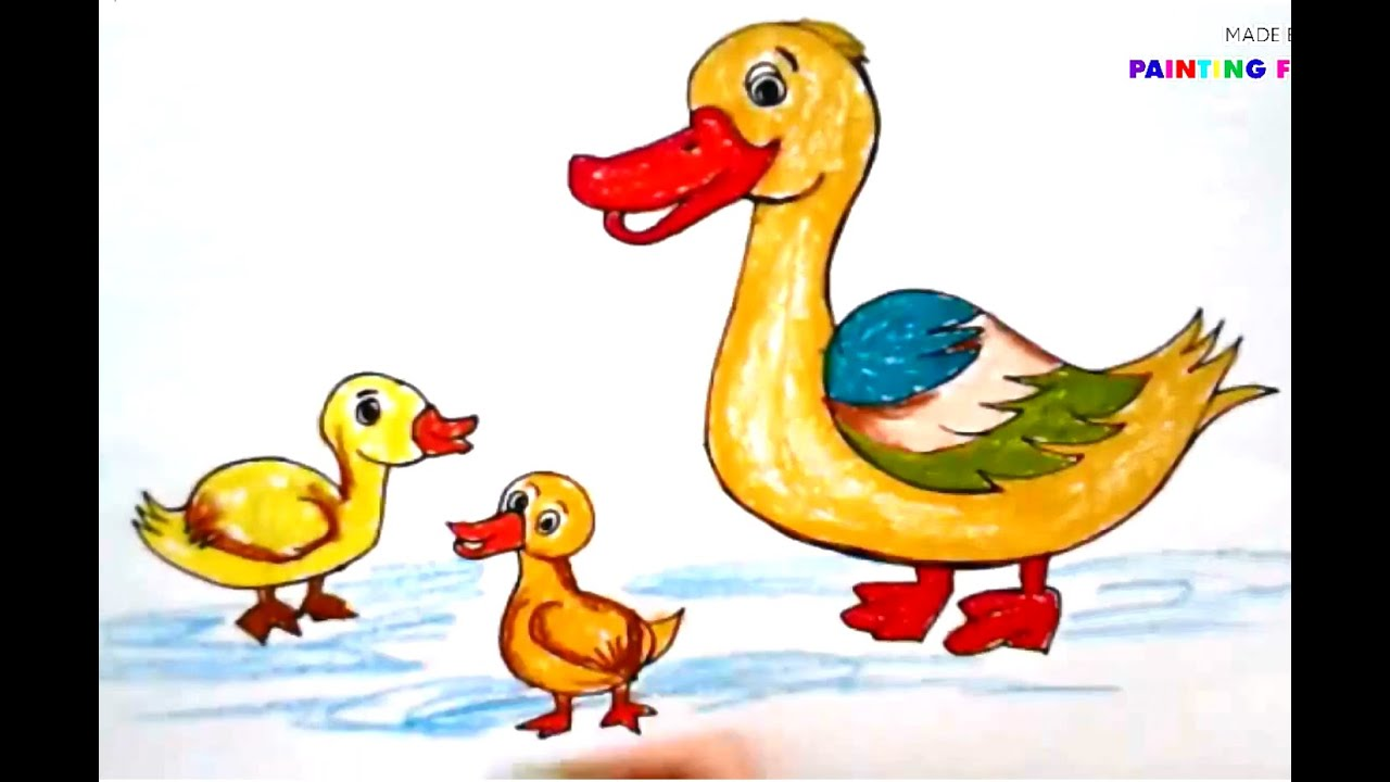 Painting animals for kids. Duckling clipart kid