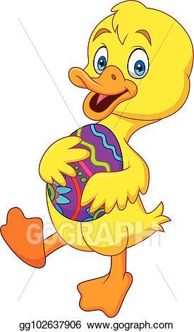 Vector illustration cartoon holding. Duckling clipart kid