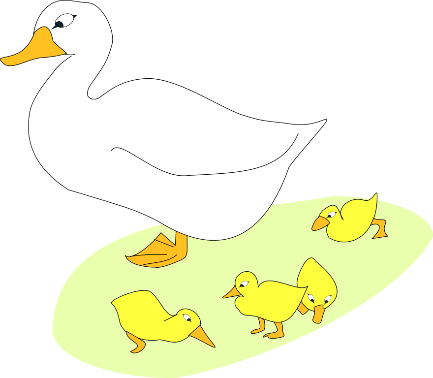 Free images of ducklings. Duckling clipart line